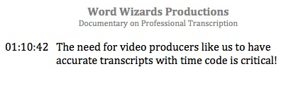 Example of a transcript with Time Code for use by a video producer.