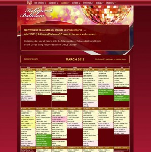Hollywood Ballroom Dance Center using Ajax Event Calendar