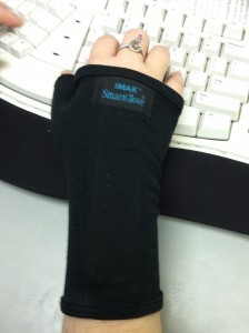 Close up photo of transcription typing gloves.