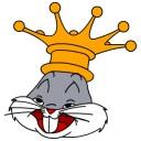 Bugs Bunny wears a crown