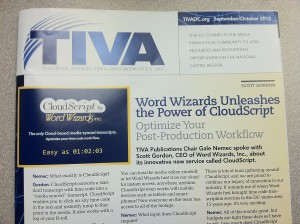 Word Wizards on the front page of TIVA Magazine