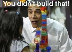 Hilarious and way out of context. Obama tell a little girl she didn't build her toy block castle.