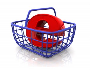 "An ""e"" in a basket, just a visual metaphor for e-commerce."
