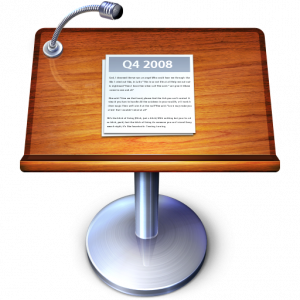 Keynote Logo: A podium with a microphonne and notes.