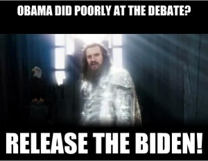Zeus releases the Biden after Obama bombs the first debate.