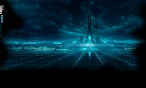The virtual city-scape from Tron Legacy.