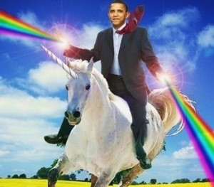 Obama rides a unicorn and shoots rainbows out of his hands...