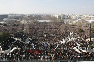 Areal shot of DC during the 2009 Inauguration