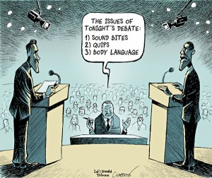 A political cartoon of the 2012 Presidential Elections in The USA.
