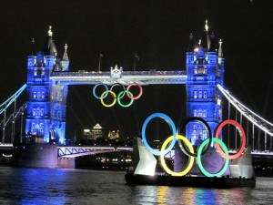 London Bridge decked out for the Onlympics in 2012