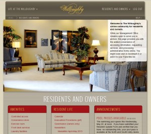 screenshot of the Residents Home Page