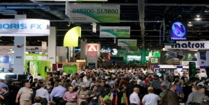 Crowd gathers in the main floor at NAB 2014.