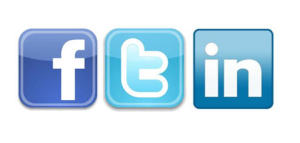 Facebook, Twitter, and LinkedIn logos