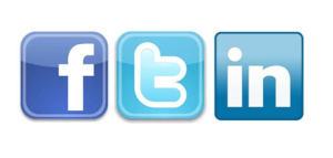 Facebook, Twitter, and LinkedIn logos