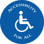 Graphic of a person in a wheelchair with the text: Accessibility for All