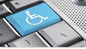 Accesibility for all! Keyboard with retunr key in blue as a handicap wheelchair symbol.