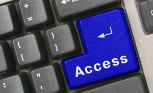 "Accesibility graphic, keyboard with blue ""Access"" key."